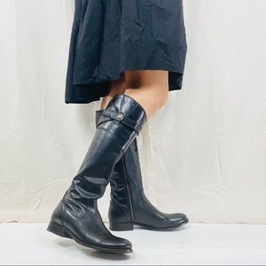 FRYE MOLLY BLACK BUTTON TALL BOOTS
